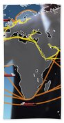 World Shipping Routes Map Beach Towel