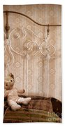 Worn Teddy Bear On Brass Bed Beach Towel