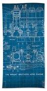 Wright Brothers Aero Engine Vintage Patent Blueprint Beach Towel