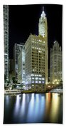 Wrigley Building At Night  Beach Towel