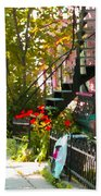 Wrought Iron Fence Balcony And Staircases Verdun Stairs Summer Scenes Carole Spandau  Beach Towel