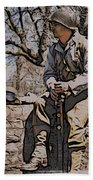 Wwii Soldier Two Beach Towel