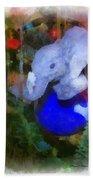Xmas Elephant Ornament Photo Art 02 Beach Towel