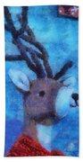 Xmas Reindeer 01 Photo Art Beach Towel