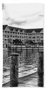 Yacht And Beach Club After The Rain In Black And White Walt Disney World Beach Towel