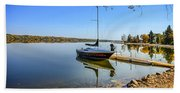Yacht At The Little Manitou Lake Beach Towel
