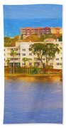 Yacht On The Water Beach Towel