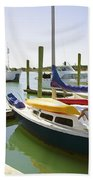 Yachts In A Port 1 Beach Towel
