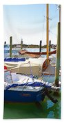 Yachts In A Port 4 Beach Towel