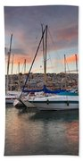yachts in Mikrolimano marina  Beach Towel