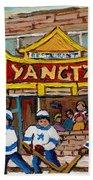 Yangtze Restaurant With Van Horne Bagel And Hockey Beach Towel by Carole Spandau