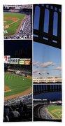 Yankee Stadium Collage Beach Towel by Allen Beatty