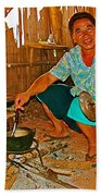 Yao Mien Tribe Man In His Home With His Cooking Pot North Of Chiang Rai In Mae Salong-thailand  Beach Towel