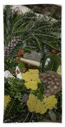 Yarrow And Lotus Wreath Squared Beach Towel