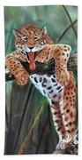 Yawning Leopard Beach Towel