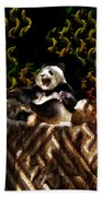 Yawning Panda  Beach Towel