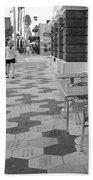 Ybor City Sidewalk - Black And White Beach Towel
