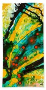 Yellow Abstract Beach Towel by Sharon Cummings