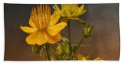 Yellow Aged Floral Beach Towel