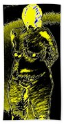 Yellow And Black Woman Beach Towel