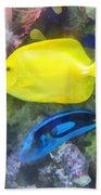 Yellow And Blue Tang Fish Beach Sheet