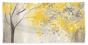 Yellow And Gray Tree Beach Sheet