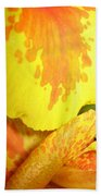 Yellow And Orange Petals Illuminated Beach Towel