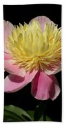 Yellow And Pink Peony Beach Towel