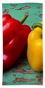 Yellow And Red Bell Pepper Beach Towel