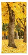 Yellow Autumn Wonderland Beach Towel