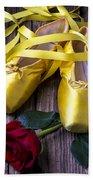 Yellow Ballet Shoes Beach Sheet