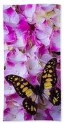 Yellow Black Butterfly On Hydrangea Beach Towel