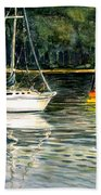 Yellow Boat Sister Bay Beach Towel