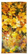 Yellow Bouquet - Palette Knife Oil Painting On Canvas By Leonid Afremov Beach Towel