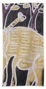 Yellow Brown Elephant In The Bush. Beach Towel