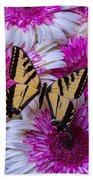 Yellow Butterfly Resting Beach Towel