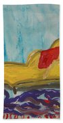 Yellow Chaise-red Pillow Beach Towel