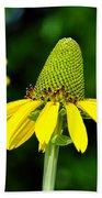 Yellow Cone Flower Beach Towel