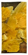 Yellow Daffodils And Texture Beach Towel