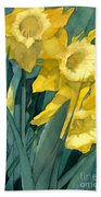 Watercolor Painting Of Blooming Yellow Daffodils Beach Towel