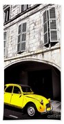 Yellow Deux Chevaux In Shadow Beach Towel