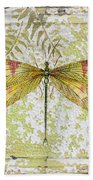 Yellow Dragonfly On Vintage Tin Beach Towel