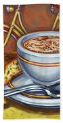 Yellow Dutch Bicycle With Cappuccino And Biscotti Beach Towel