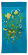 Yellow Floral Enchantment In Turquoise Beach Towel