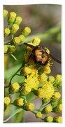 Yellow Flower Bee Beach Towel
