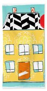 Yellow Flower House Beach Towel by Linda Woods