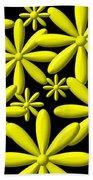 Yellow Flower Power 3d Digital Art Beach Towel