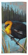 Yellow Headed Black Bird Beach Towel