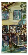 Yellow House By The River Beach Towel