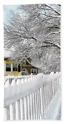 Yellow House With Snow Covered Picket Fence Beach Towel